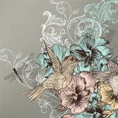 Elegant floral background with flowers and humming birds — Stok Vektör