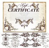 Gift certificate set with decorative calligraphic elements for — Stock Vector
