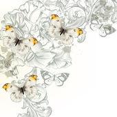 Grunge vektor bakgrund med blommor och fjärilar för desi — Stockvektor