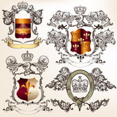 Vector set of detailed heraldic design with coat of arms and shi — Vector de stock