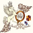 Antique heraldic design with winged horse and shields — Stock Vector