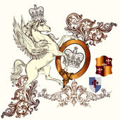 Antique heraldic design with winged horse and shields — 图库矢量图片