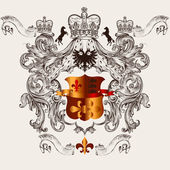 Beautiful heraldic design with shield, crown and fleur de lis — ストックベクタ