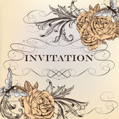 Elegant vector invitation card with roses — Stock Vector
