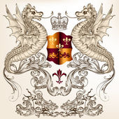 Heraldic design with dragons, fleur de lis and shield — Vector de stock
