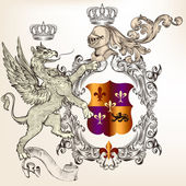 Heraldic design with griffin, knight and coat of arms — Cтоковый вектор