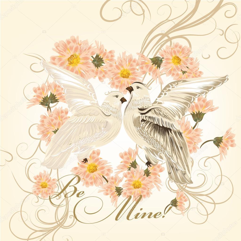 Поздравительная открытка с голубями