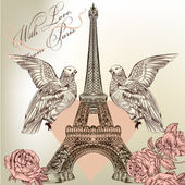 Beautiful Valentine card with detailed vector Eiffel tower, rose — Stock Vector