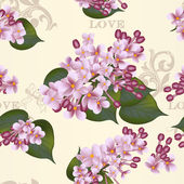 Beautiful vector seamless floral pattern with lilac flowers — Stock Vector