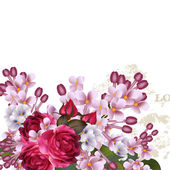 Floral vector background with lilac flowers and roses — Vetor de Stock