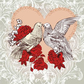 Fashion Valentine card with birds and roses in vintage style — Stock Vector