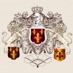 Heraldic shield with lions and fleur de lis — Stock Vector
