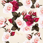 Beautiful seamless vector pattern with roses in vintage style — Vector de stock
