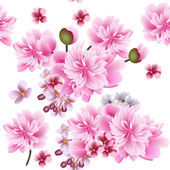 Floral vector seamless wallpaper with pink flowers — Stock Vector