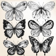 Stock Vector: Collection of vector hand drawn detailed butterflies for design