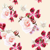Vector seamless wallpaper with roses and pink flowers — Vector de stock