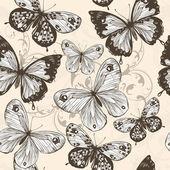 Vector seamless wallpaper with swirls and butterflies — Stock Vector