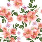 Beautiful seamless vector pattern with wild  roses — Vector de stock
