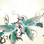 Piękne tło z buczenie ptaków w chlewie akwarela — Wektor stockowy
