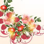 Beautiful vector background  with flowers and berries — Vector de stock