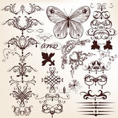 Collection of vintage vector decorative elements for design — Stock Vector