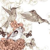 矢量背景与鸟类和蝴蝶 — 图库矢量图片