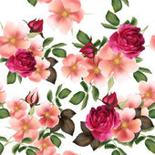 Beautiful seamless vector pattern with detailed  roses — Vetor de Stock