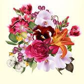 时尚花卉背景与五颜六色的春天的花朵 — 图库矢量图片