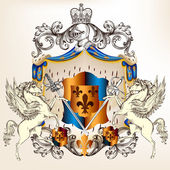 Heraldic design with coat of arms, shield and horses — Vettoriale Stock