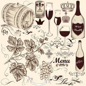 Collection of vector decorative hand drawn elements wine and win — Stock Vector