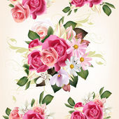 Floral seamless pattern with roses and flowers — Stock Vector