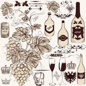 Vector set of vintage decorative elements vine and winemaking — Stock Vector