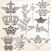 Collection of vector heraldic crowns and laurel leafs — Stock Vector