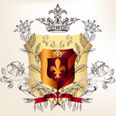 Heraldic design with coat of arms crowns and laurel leafs — Vector de stock