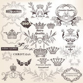 Collection of vector decorative elements, flourishes and labels  — Stock Vector