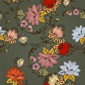 Patrón floral vector transparente con adorno — Vector de stock