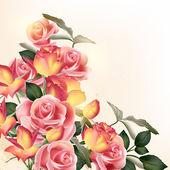 Krásný vektorové pozadí s růží — Stock vektor