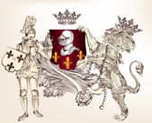 Heraldic design with knight and lion for design — Stockvector