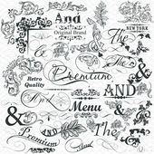 Collection of calligraphic elements and flourishes for design — Stock Vector