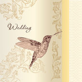 Elegant wedding card  in vintage style — Vector de stock