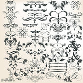 Collection of vector decorative calligraphic elements for design — Stock Vector