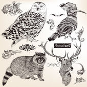 Collection of vector hand drawn animals — Stock vektor