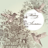 Wedding invitation with birds and flowers — Stok Vektör