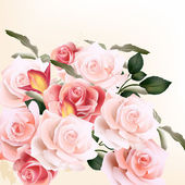 Schöne Vektor Hintergrund mit Rosen — Stockvektor