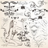 Collection of vector decorative flourishes for design — Stock Vector