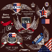 Collection of vector decorative heraldic elements USA symbols — Stockvector