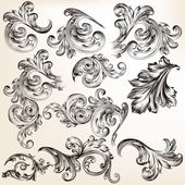 Collection of vector decorative vintage swirls for design — Stock Vector