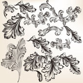 Collection of vector hand drawn swirl flourishes for design — Stock Vector