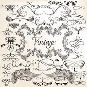 Collection of vintage vector decorative elements — Stock Vector