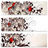 Business cards set with flowers — Stok Vektör